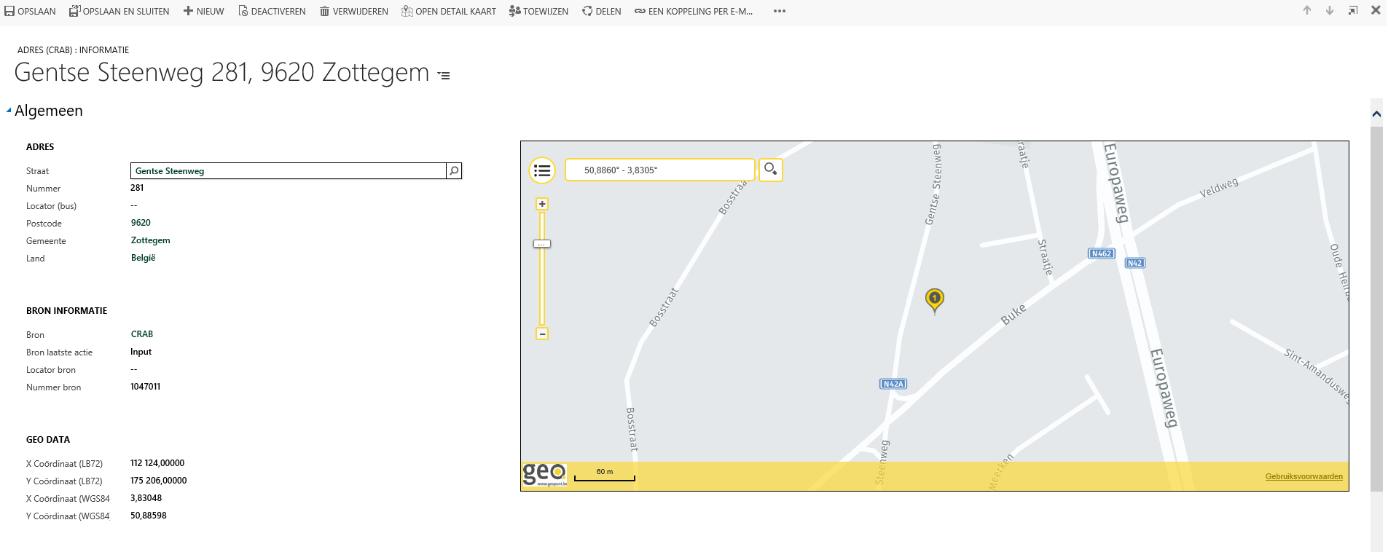 Net IT CRM Blog: correcte adressen in Microsoft Dynamics 365 - screenshot Geopunt
