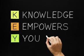 Hand writing Knowledge Empowers You with white chalk on blackboard.