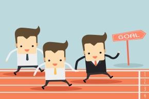 businessman running on track vector
