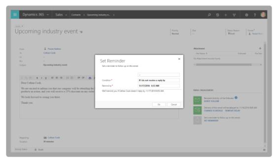 Microsoft Dynamics 365 fall release relatie-inzichten feature: screenshot