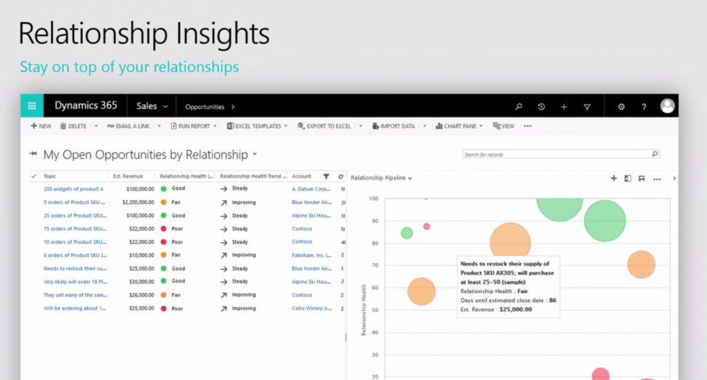 Microsoft Dynamics 365: screenshot feature relationship insights