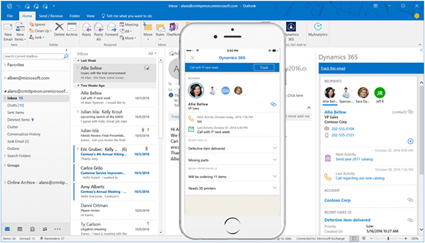 Printscreen Microsoft Dynamics 365 App voor Outlook