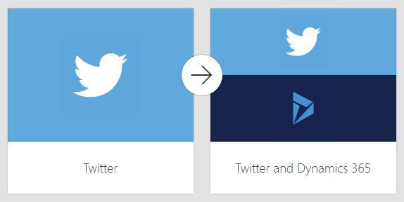 Screenshot Microsoft flow Twitter en Microsoft Dynamics 365