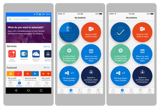 Microsoft flow screenshot mobiele app