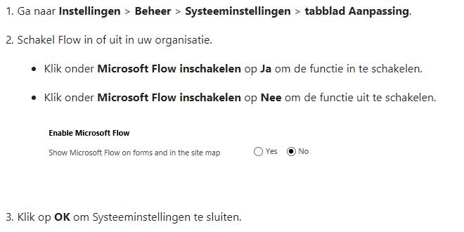 Net IT CRM blog: Microsoft Flow Dynamics 365 - Microsoft Flow in of uitschakelen