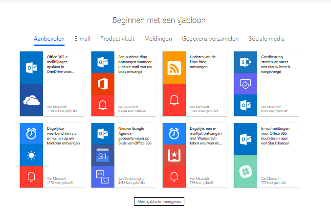 Net IT CRM blog: Microsoft Flow - screenshot starten met sjablonen