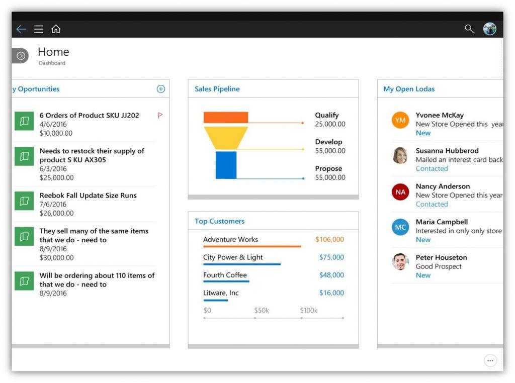 Screenshot van mobiele app van Microsoft Dynamics 365