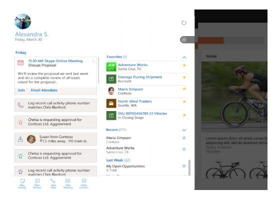 Screenshot mobiele werkplek van mobiele app van Microsoft Dynamics 365