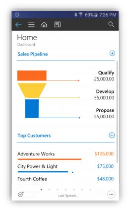 Screenshot vernieuwde interface van mobiele app van Microsoft Dynamics 365