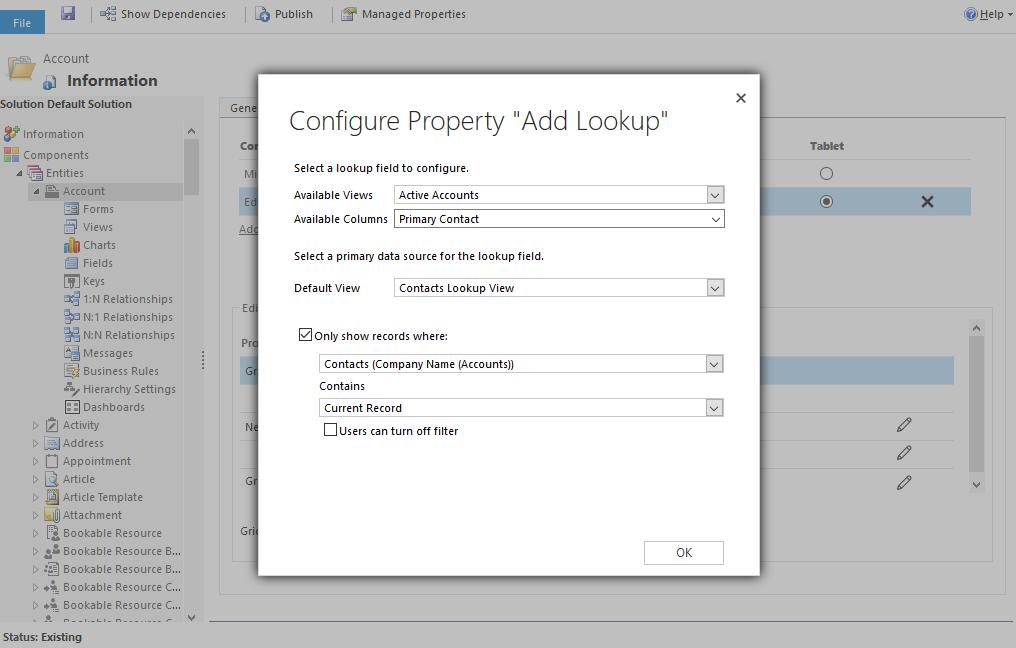 Microsoft Dynamics 365: Editable Grid configuratie Add-Lookup