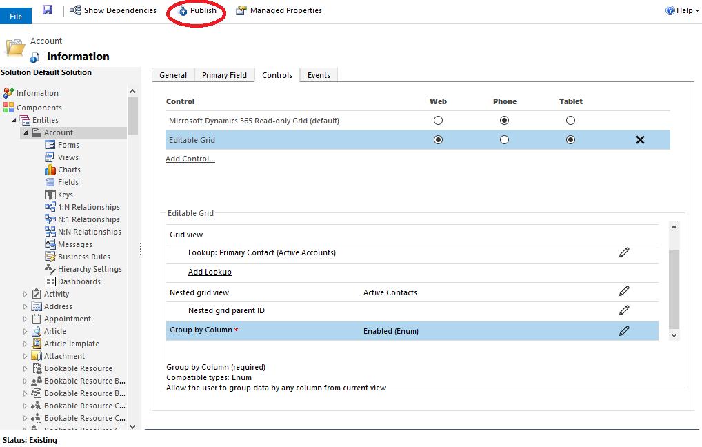 Microsoft Dynamics 365: Editable Grid configuratie publiceren