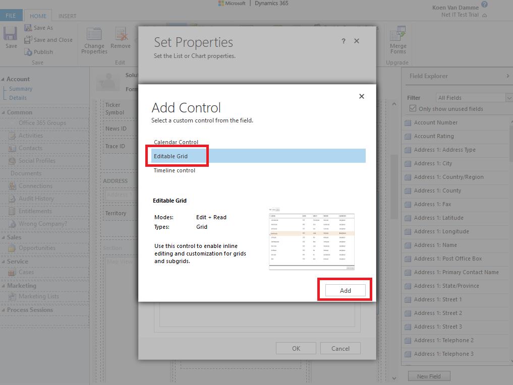 Microsoft Dynamics 365: Editable Grid inschakelen voor een subweergave -stap 7