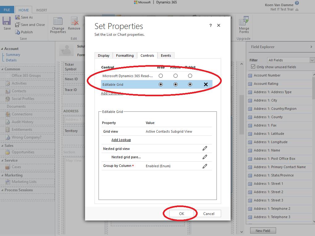 Microsoft Dynamics 365: Editable Grid inschakelen voor een subweergave - stap 8