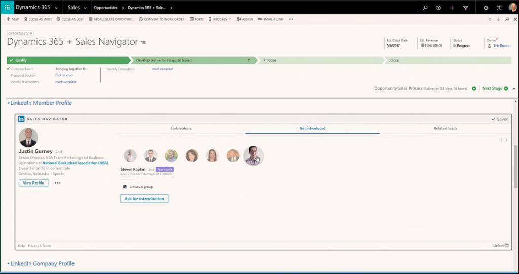 Net IT CRM blog: Microsoft en LinkedIn - screenshot Microsoft Relationship Sales Solution