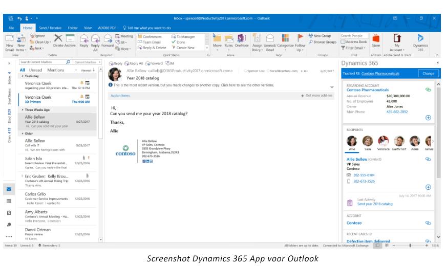 Net IT CRM blog: Screenshot Dynamics 365 app voor Outlook