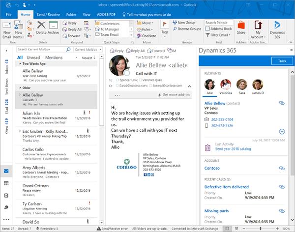 Net IT CRM blog: screenshot Microsoft Dynamics 365 app voor Outlook