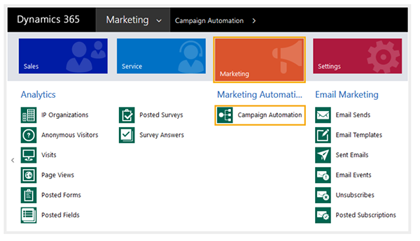 Net IT CRM blog: ClickDimensions nurturing campagnes - screenshot - Campaign Automation Builder