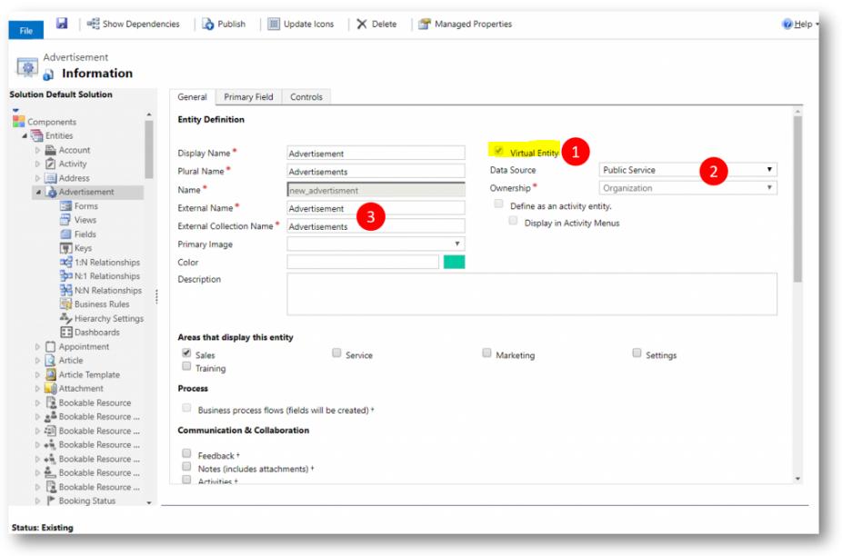 Net IT CRM blog: Microsoft Dynamics 365 update - Screenshot virtuele entiteiten aanmaken
