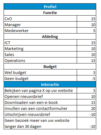 Net IT CRM blog: Lead scoring - voorbeeld scoremodel