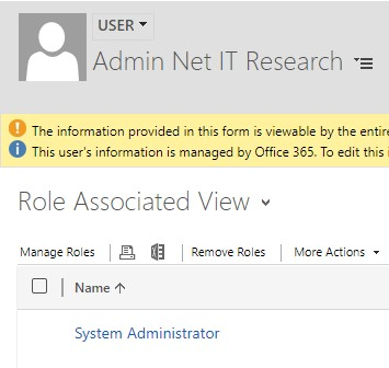 Net IT CRM Blog: Duplicatendetectie van Dynamics 365 - Bestaande regel inschakelen - stap 1 screenshot User Role