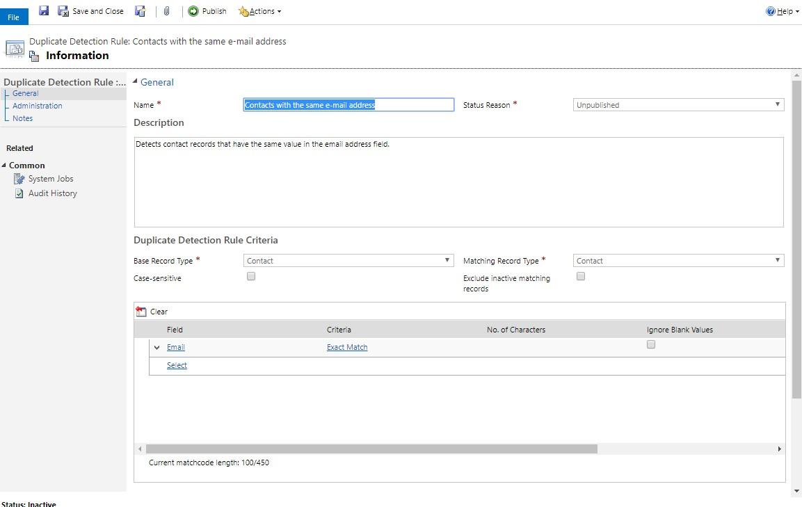 Net IT CRM Blog: Duplicatendetectie van Dynamics 365 - Bestaande regel inschakelen - stap 4 screenshot Rule Contacts same email address