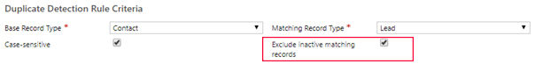Net IT CRM Blog: Duplicatendetectie van Dynamics 365 - Nieuwe regel inschakelen - stap 8 screenshot Select Exclude inactive matching records