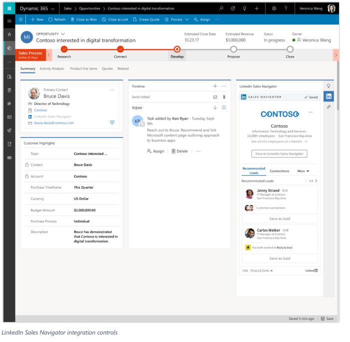 Net IT CRM Blog: Microsoft Dynamics 365 Spring ' 18 release - screenshot LinkedIn Sales Navigator integration controls