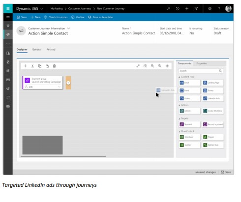 Net IT CRM Blog: Oktober 18 update van Dynamics 365 - screenshot integratie LinkedIn met marketing app van Dynamics 365