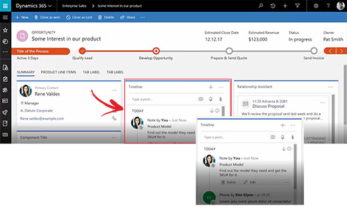 Net IT CRM Blog: Unified Interface Microsoft Dynamics 365 - screenshot activiteiten tijdlijn small