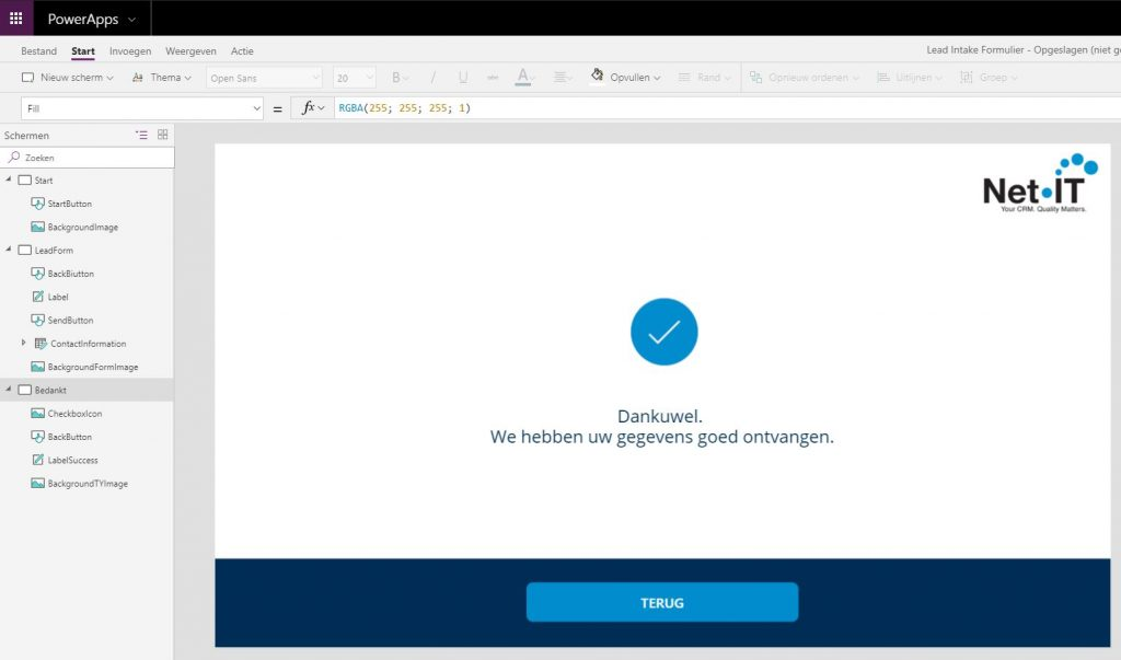 Net IT CRM Blog: PowerApp - screenshot BEDANKT-scherm