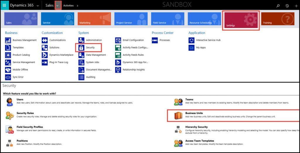 Security Dynamics 365 Business Units-screenshot