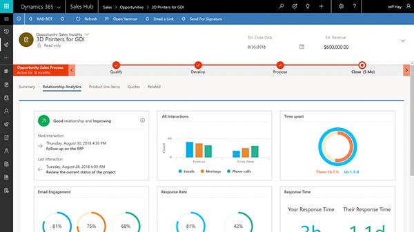 Screenshot Dynamics 365 Sales Insights