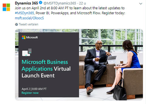 Net IT CRM Blog: Microsoft nieuws maart 2019 twitterbericht Dyn365 Virtual Launch Event