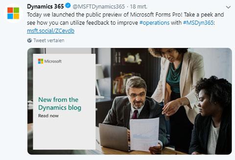 Net IT CRM Blog: Microsoft nieuws maart 2019 Twitterbericht Microsoft Pro Forms