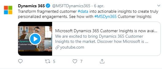 Microsoft nieuws van april 2019: screenshot tweet Dynamics 365 Customer Insights