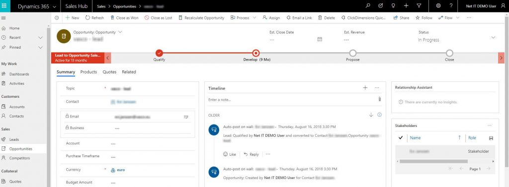 Screenshot Unified Interface Sales hub
