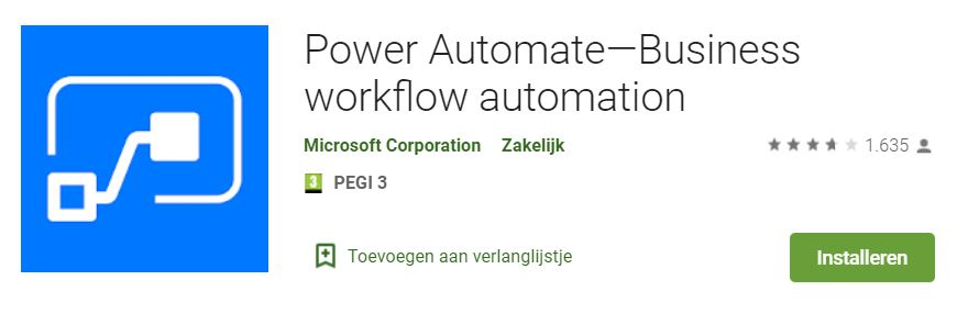 Afbeelding Power Automate Mobile app
