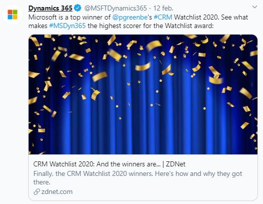 Screenshot Twitter bericht Microsoft award CRM Watchlist 2020