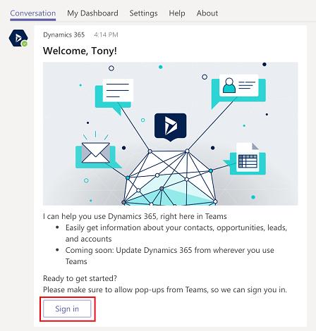Integratie Microsoft Teams en Dynamics 365: screenshot aanmelden bij de botfunctie