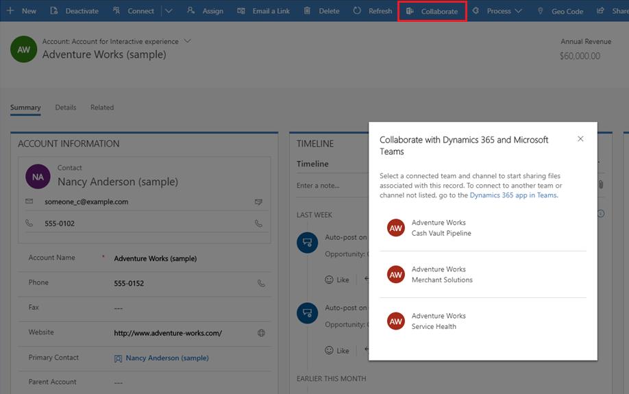 Integratie Microsoft Teams en Dynamics 365: screenshot samenwerken knop