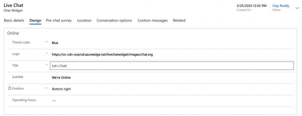 Net IT Blog: Screenshot Omnichannel chat widget design tab