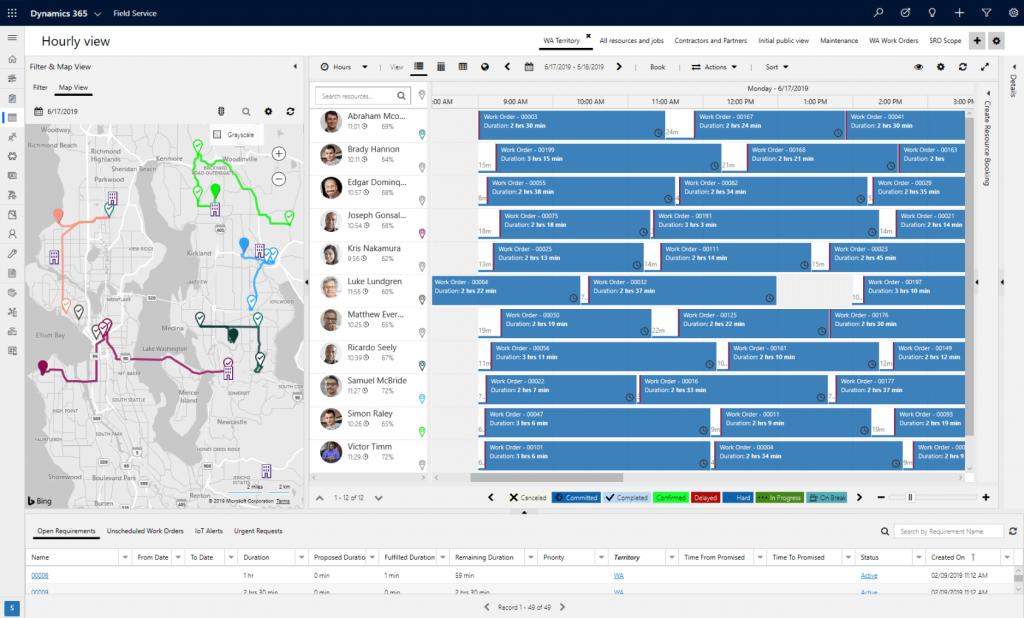 Dynamics 365 Field Service Screenshot Planningsbord