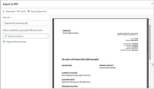 Screenshot Dynamics 365 Export to PDF