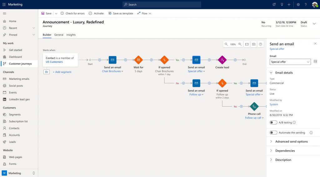 Screenshot Dynamics 365 Marketing Customer Journey