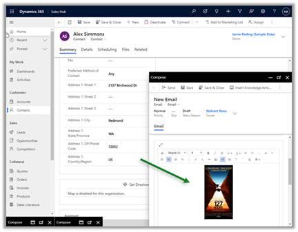 Screenshot Dynamics 365 Sales New Email