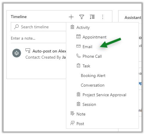 Screenshot Dynamics 365 Sales Timeline Email