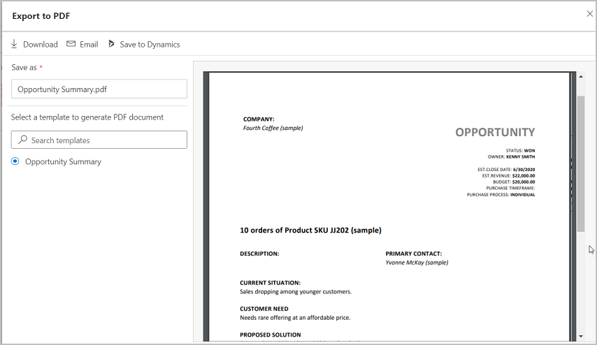 Screenshot export to pdf dialog in Microsoft Dynamics 365 for Sales