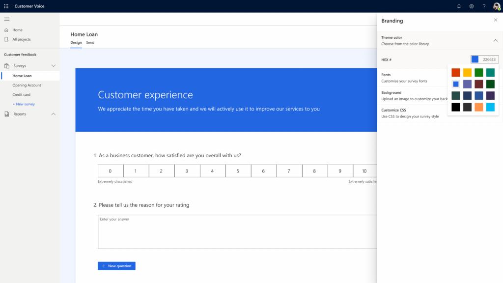 Screenshot Dynamics 365 Customer Voice sjabloon