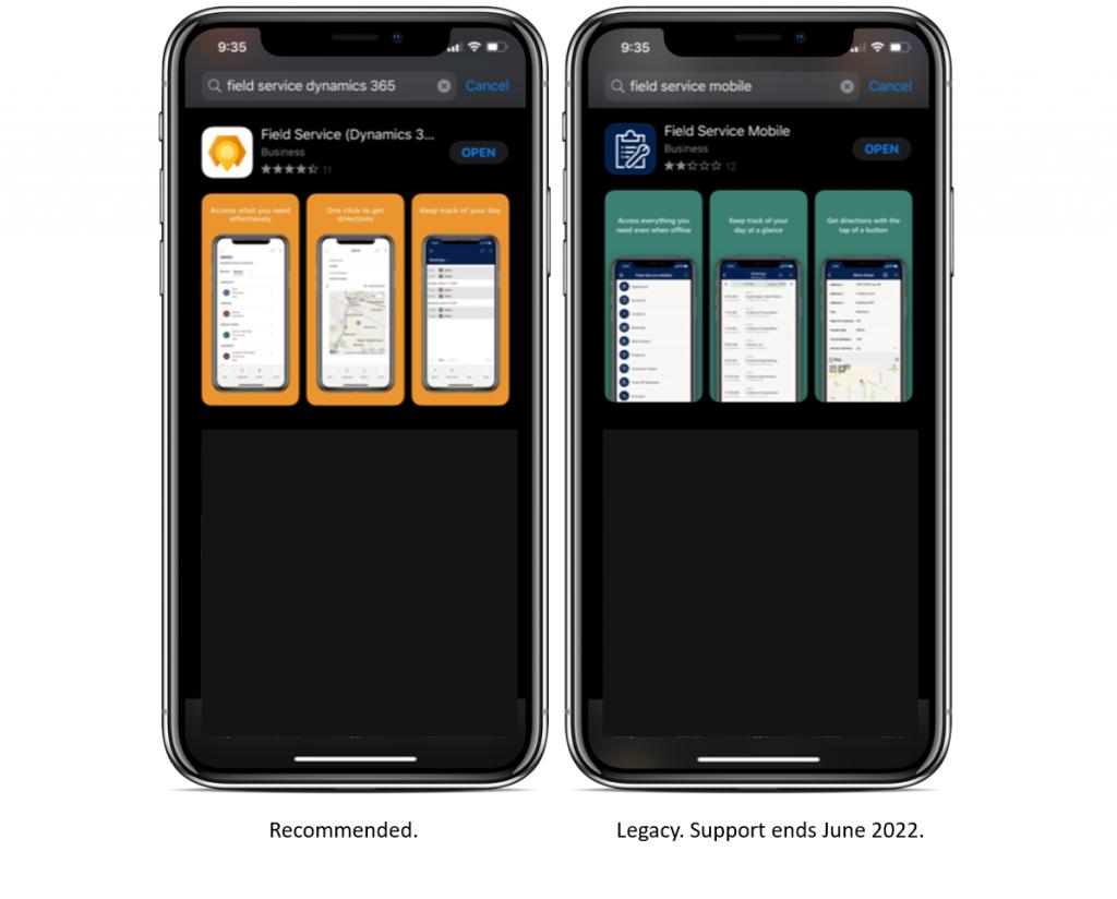 Dynamics 365 Field Service mobile 2020 app store compare