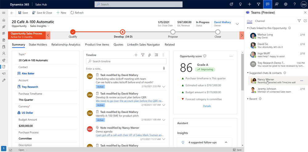 Screenshot Teams Chats gelinkt aan verkoopkans